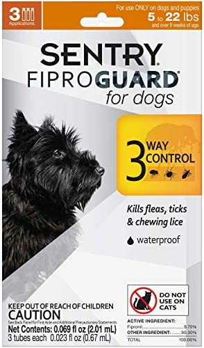 SENTRY Fiproguard for Dogs, Flea and Tick Prevention for Dogs (5-22 Pounds), Includes 3 Month Supply of Topical Flea Treatments