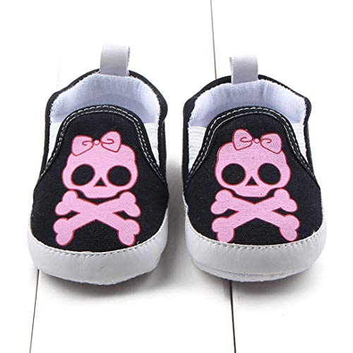 Amiley Baby First Crib Shoes,Baby Halloween Cartoon Skull Print Soft Sole Anti-Slip Shoes Newborn Single Crib Sneakers Shoes for Infant Toddler Baby (0~6 M, Pink) -