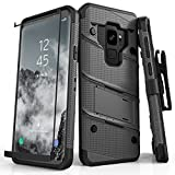 Zizo Bolt Series Compatible with Samsung Galaxy S9 Case Military Grade Drop Tested with Tempered Glass Screen Protector Holster Metal Gray Black