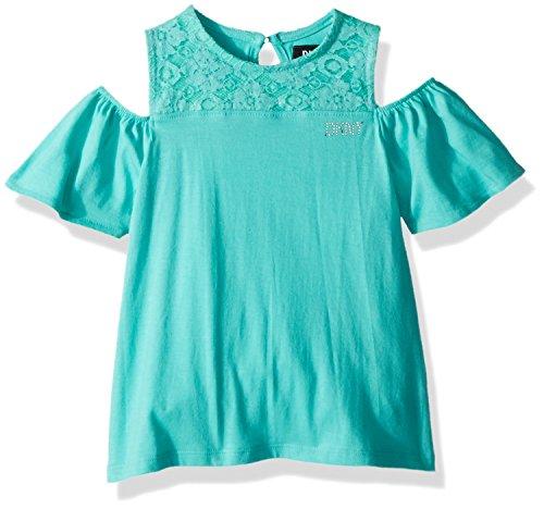 DKNY Little Girls' Short Sleeve T-Shirt, Crochet Yoke Turquoise, 5 (Crochet Yoke)
