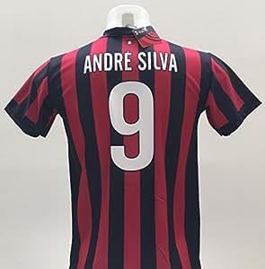 Camiseta de fútbol del A.C. Milán, Bonucci 9,réplica autorizada, temporada 2017-2018, para niños (tallas 2, 4, 6, 8, 10, 12) y adultos (S, M, L, XL), 2 años