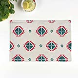 Onfly 4 Pc Set Cotton Linen Placemat Insulation Pad Art National Style Coaster Table Mat Pad Mat Irregular Geometric Pattern Small Cover Towel Cloth 4428cm (Color : A)