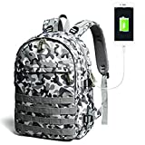 Travel backpack, schoolbag, Jedi chicken game backpack, men's shoulder bag fashion trend, canvas junior high school satchel with USB charging port package (camouflage blue)