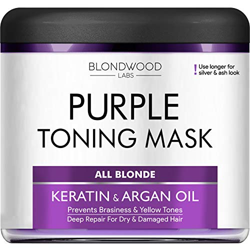 Purple Hair Mask - Remove Yellow & Overtones for Blonde Hair, Platinum & Ash Hair - Made in the USA - Goes Well with Purple Shampoo - for Brassiness with Retinol and Keratin - Overtone Purple - 8 oz (Best Toner For Yellow Bleached Hair)