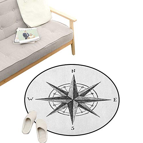Decor Complete Compass Room - Compass Round Rug Living Room ,Seamanship Hand Drawn Windrose with Complete Directions North South West, Bedrooms Laundry Room Decor 31