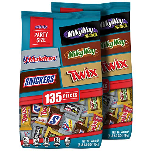 SNICKERS TWIX 3 MUSKETEERS MILKY WAY amp MILKY WAY Midnight Minis Size Chocolate Candy Bars Variety Mix 40Ounce Bag Pack of 2