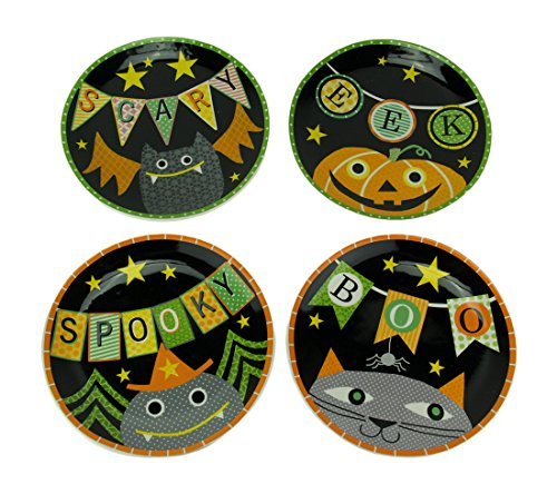 Transpac Set of 4 Whimsical Halloween Ceramic Plates 11 Inch ()