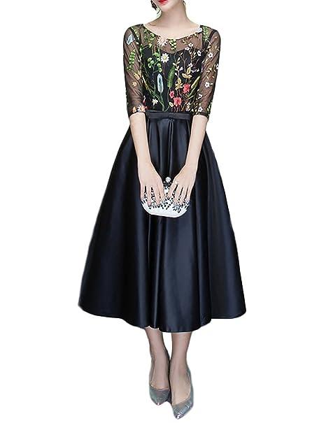 Mitchell Mujer 50s Vestidos Vintage,A-line Cuello Florales Bordados Coctel Fiesta Vestido de