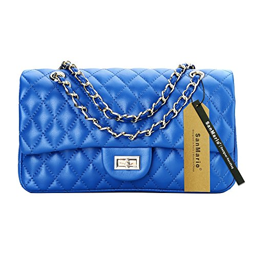 SanMario Designer Handbags Lambskin Classic Quilted Grained Double Flap Gold Tone Metal Chain Women's Crossbody Shoulder Bag Blue 30cm/12