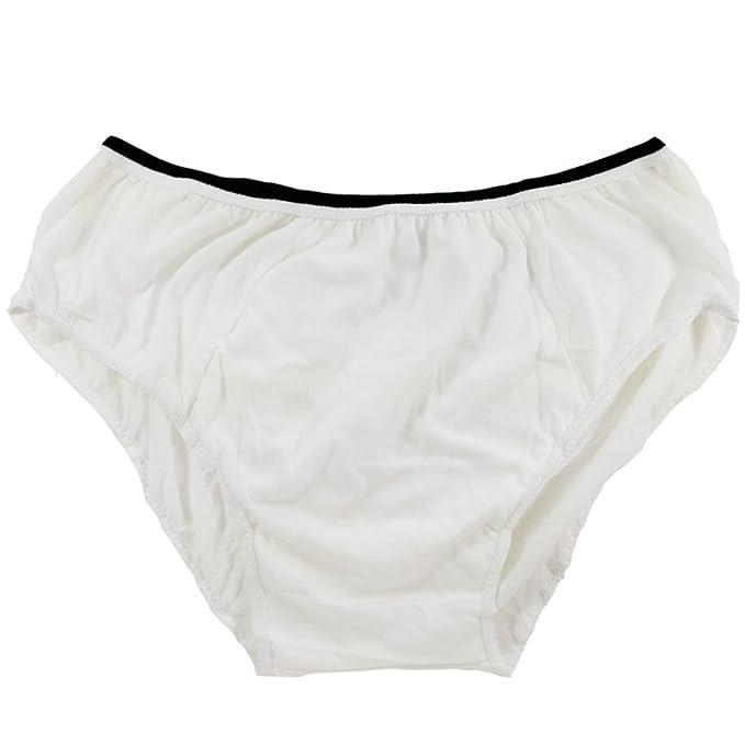 Braguitas Desechables de Ropa Interior de algodón para Hombres Briefs para Viajes Fitness Blanco (10pk