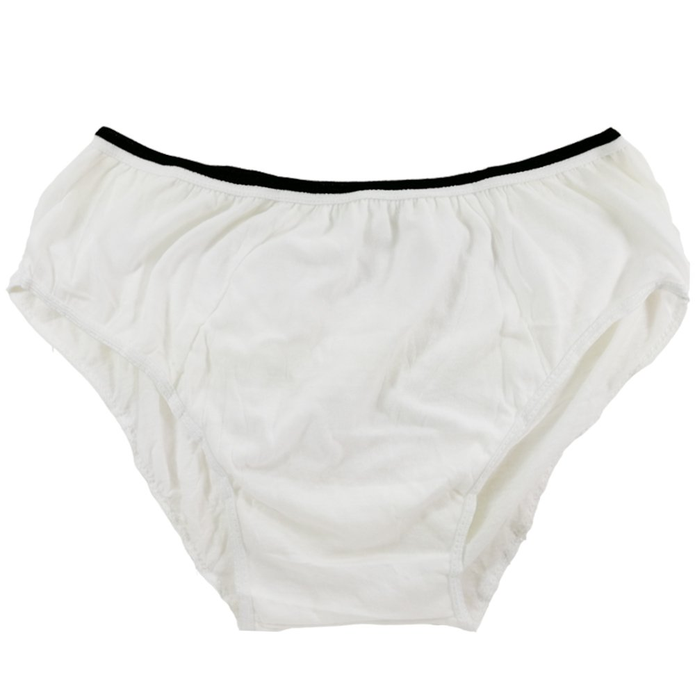 Starly Mens Cotton Disposable Underwear Panties Handy Briefs for Travel Fitness White (10pk) (M)