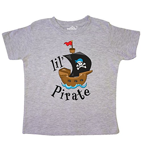 (inktastic - Lil' Pirate Pirate Ship, Blue Toddler T-Shirt 3T Heather Grey)