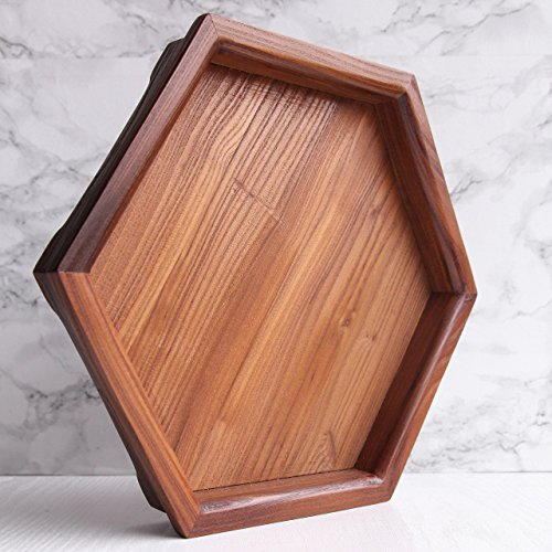 tric Serving Tray Decorative Coffee Tea Table Honeycomb Food Platter Ottoman Centerpiece ()