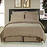 Royal Hotel's King size Solid Taupe 300-Thread-Count 3pc Duvet-Cover-Sets and 1pc Siberian Goose Down Comforter 100 percent Cotton 100% Cotton