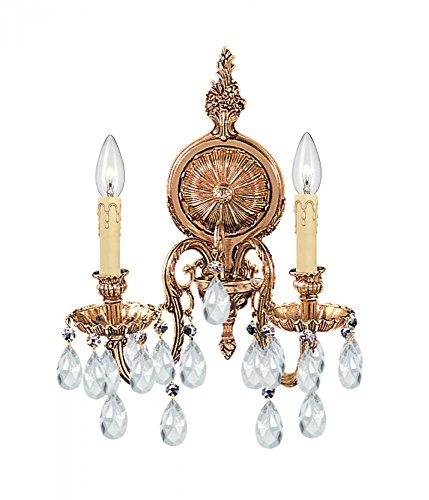 - Crystorama 2902-OB-CL-MWP Novella 2LT Wall Sconce, Olde Brass Finish with Clear Hand Cut Crystal
