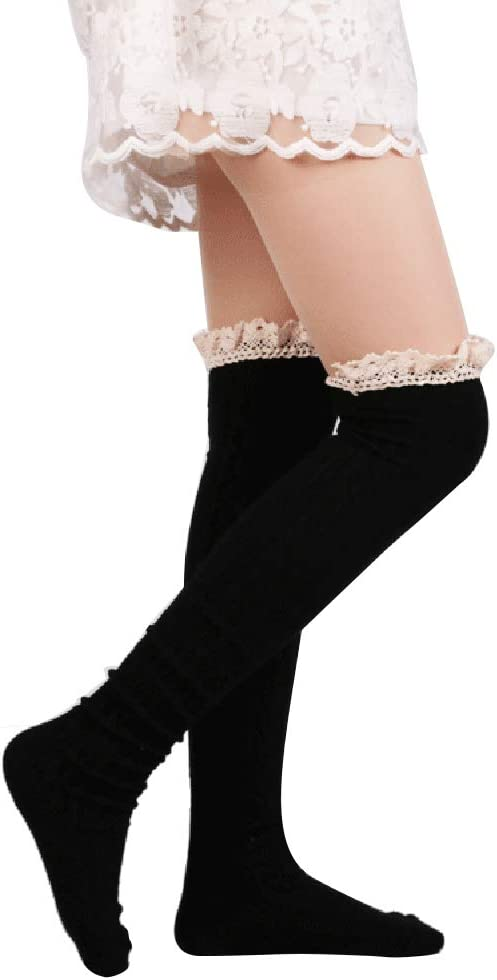 Womens Winter Cable Knit Over knee Long Boot Lace Thigh High Socks Leg Warmers