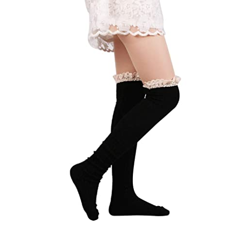 Ladies Over The Knee Thigh High Womens Stretch Girls Cotton Socks One Size 4-7