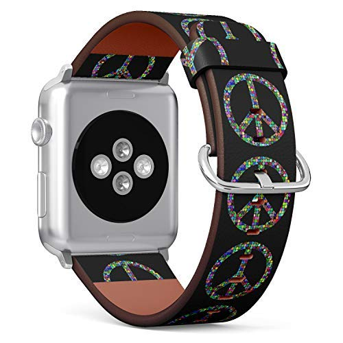 (Hippie Style Peace Sign) Patterned Leather Wristband Strap for Apple Watch Series 4/3/2/1 gen,Replacement for iWatch 42mm / 44mm Bands