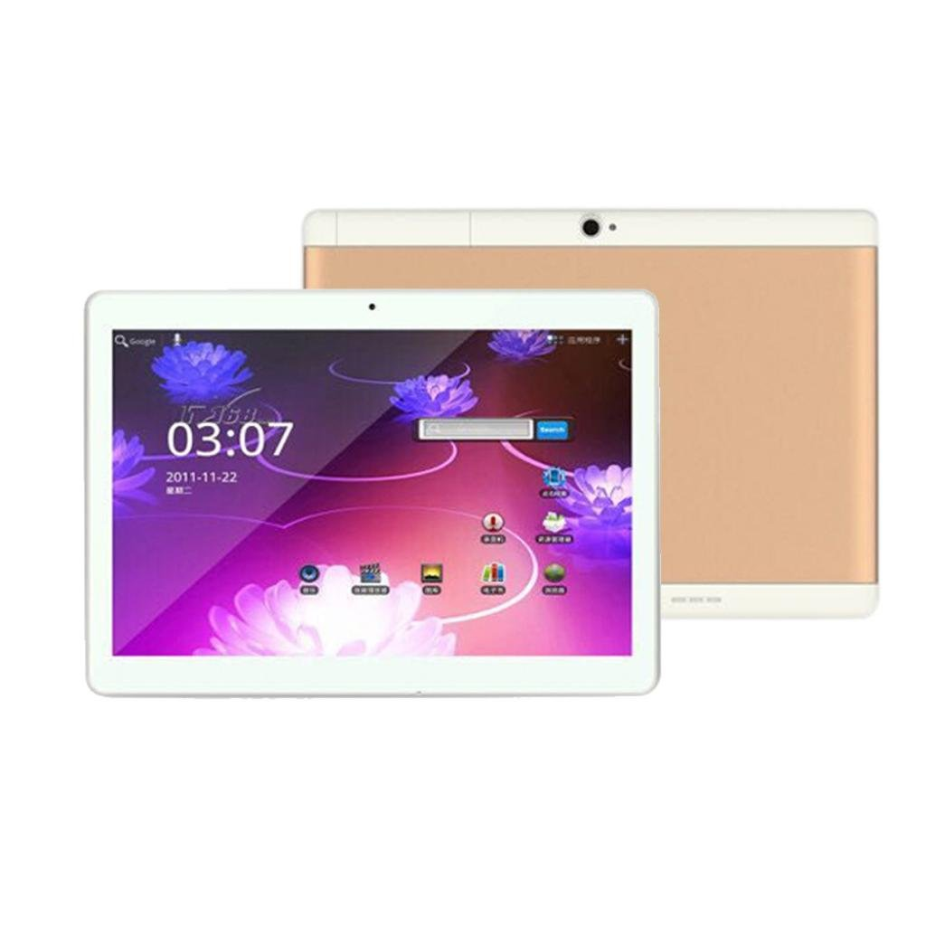 Gotd 10.1'' Tablet PC Mic WIFI Android 6.0 Octa Core 4G+64G 2 SIM 4G HD Blutooth 4.0,7000mAh Battery,226mmx161mmx9.2mm (Gold) by Goodtrade8