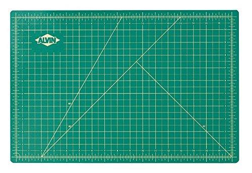 "Alvin Professional Self-Healing Cutting Mat, 12"" x 18"", Green/Black (GBM1218)"