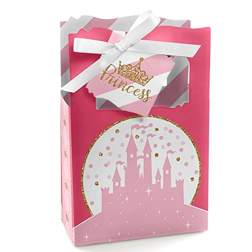 Little Princess Crown - Pink and Gold Princess Baby Shower or Birthday Party Favor Boxes - Set of 12 ()