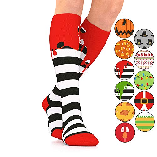 Go2Socks GO2 Holiday Compression Socks for Women Men Nurses Runners 15-20 mmHg (Medium) - Medical Stocking Maternity Travel - Best Performance Recovery Circulation Stamina(RedOoze, Medium) -