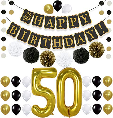 Black 50th BIRTHDAY DECORATIONS PARTY KIT - Black Gold and White Paper PomPoms | Number 50 Gold Balloons | Circle Garland -