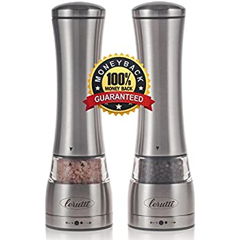 Premium Lerutti Manual Salt and Pepper Grinder Set With Adjustable Ceramic Rotor - Elegant Stainless Steel Shakers - Deluxe Salt Mill and Pepper Mill for Himalayan Salt, Pepper and Spices - Set of 2