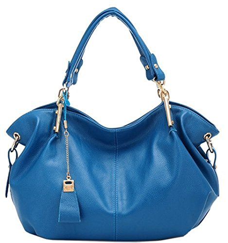 Montmo Women Fashion Simple Design Hobo Style Soft Leatherette Casual Handbag (blue) Cj-01
