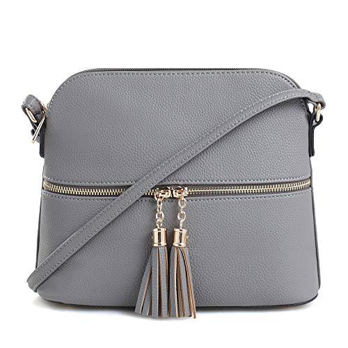 SG SUGU Lightweight Medium Dome Crossbody Bag with Tassel | Zipper Pocket | Adjustable Strap (Grey) (Crossbody Purse Grey)