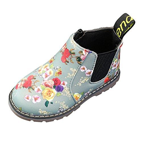 Hibote Mädchen Schneestiefel Ankle Boots Leder Stiefel Baby Freizeitschuhe Blume Chelsea Boots Martin Stiefel Elegant Party Schuhe Turnschuhe Schwarz/Grau Grau