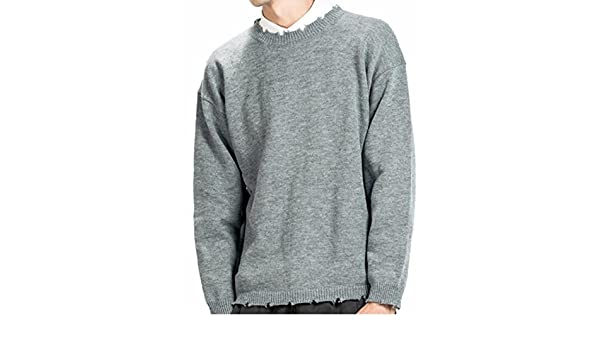 Tymhgt Mens Long Sleeve Crewneck Ripped Knitted Slim Fit Sweater Pullover