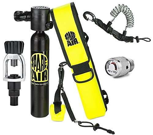 New 3.0CF Spare Air Package for Scuba Divers with Dial Pressure Gauge, Fill Adapter, Holster, Leash, and FREE Quick Release Coil Lanyard ($15.95 Value) -