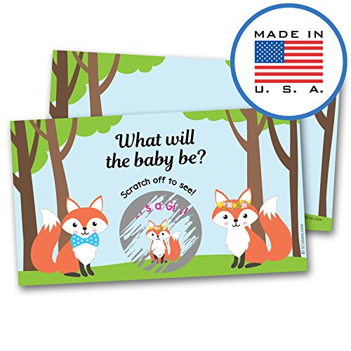 321Done Gender Reveal Scratch Off Cards for Baby Announcement - Cute Foxes and Baby Fox Cartoon - Baby Shower, 2