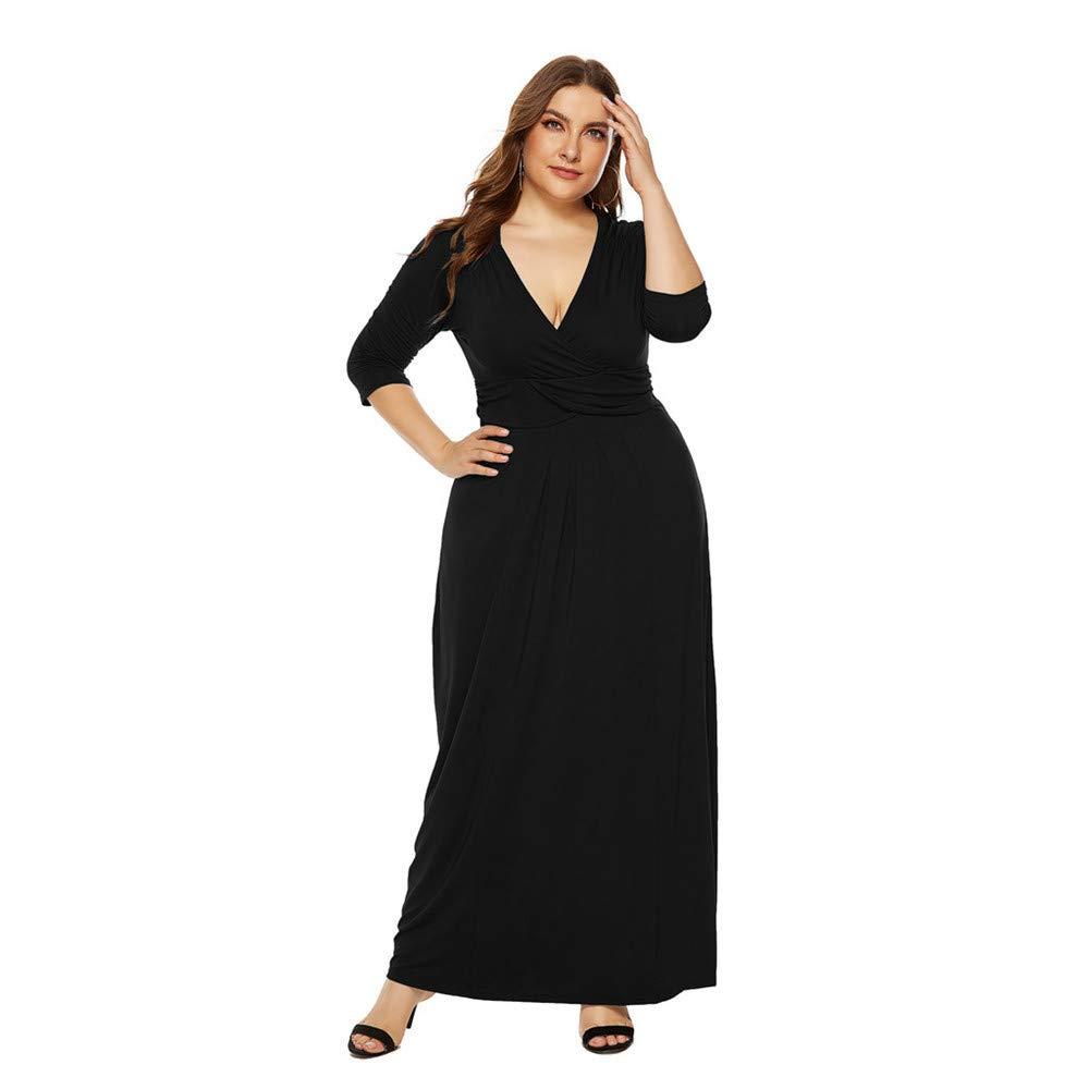 Women's Short Sleeve Loose Plain Maxi Dresses Casual Long DresseLIM&Shop Sexy Cap V-Neck Flowy Cocktail Gown Plus Size Black