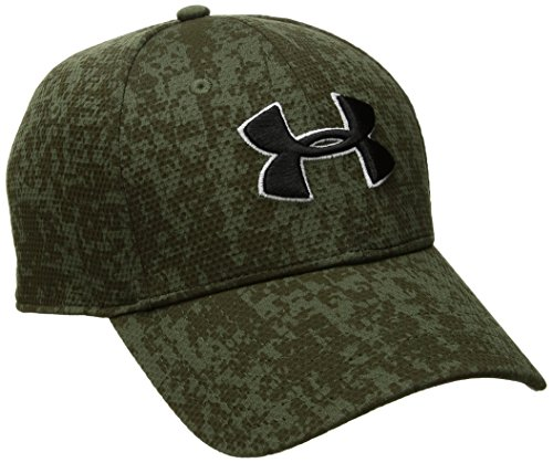 Under Armour Men's Printed Blitzing Stretch Fit Cap, Downtown Green (331)/Black, Large/X-Large