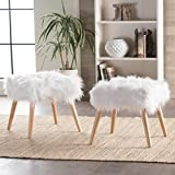 Christopher Knight Home 300471 Living Hudson Faux Fur Ottoman (Set of 2) (White),