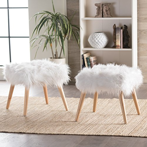 Christopher Knight Home 300471 Living Hudson Faux Fur Ottoman (Set of 2) (White)