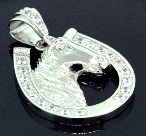 .925 Sterling Silver Men Crystal Stone Horse Head Shoe