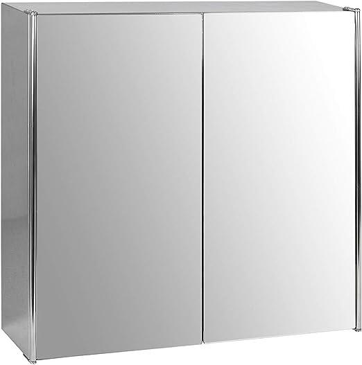 Bath Vida Tiano Bathroom Cabinet Double Mirror Wall Mounted Stainless Steel Modern Storage Cupboard Unit