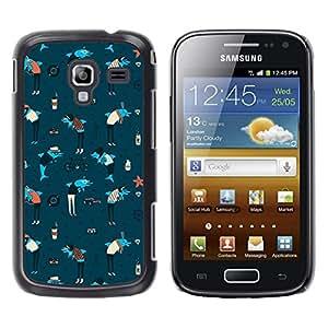Stuss Case / Funda Carcasa protectora - Dolphins Anchor Sea Art Wallpaper Colorful Blue - Samsung Galaxy Ace 2 I8160 Ace II X S7560M