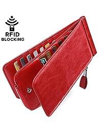 Huztencor Women's Credit Card Holder RFID Blocking Oil Wax Leather Multi Card Organizer Wallet Slim Long Zipper Bi-fold Business Card Case Clutch Wallet with ID Window Red (FBA)