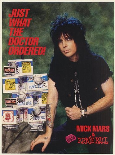1990 Mick Mars Ernie Ball Guitar Strings Just What Doctor Ordered Photo Print Ad (Memorabilia) (56140)