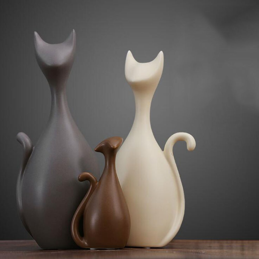 Ctystallove Home Decor Accessories Animal Porcelain Ornaments Ceramic Crafts Art Figurines (Cat)