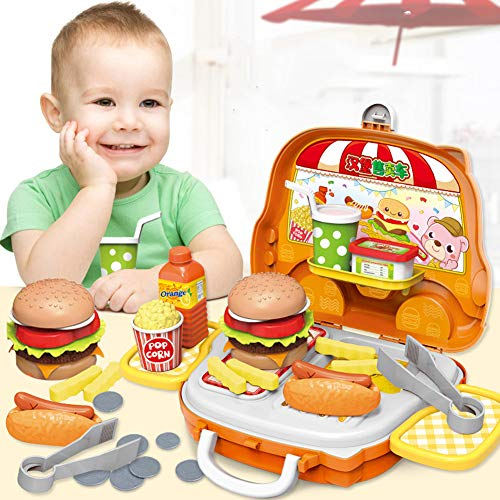 Little Bado Play Fast Food Toys Set for Kids Children Boys and Girls Age 3 4 5 6 Years Olds Hamburger Play Food Truck for Toddlers Kids 5 Yr Old Play Food for Kids Kitchen Toys