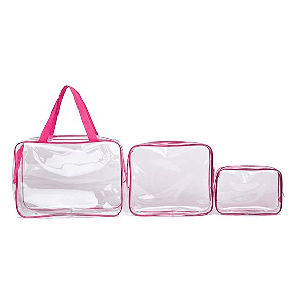 198b326834 Image Unavailable. Image not available for. Color  3pcs Clear Cosmetic  Toiletry PVC Travel Wash Makeup Bag Holder Pouch Kits Set ...