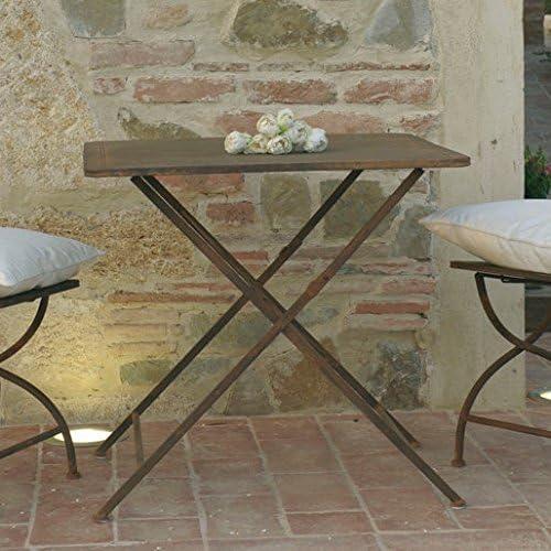 Mesa plegable rural de hierro forjado, color oxidado, hecha artigianalmente. Tamaños cm 80 x 80 h 75. Venta Muebles provenzal de jardín de hierro forjado Online.: Amazon.es: Hogar