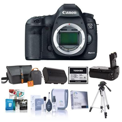 Canon EOS-5D Mark III Digital SLR Camera Body,USA – Bundle with Battery Grip, Camera Bag, Spare Battery, 32GB Compact Flash Card, Screen Protector, Tripod, Cleaning Kit, Pro Software Package