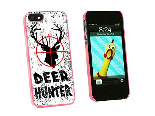 Graphics and More Deer Hunter Buck Hunting Distressed Snap-On Hard Protective Case for iPhone 5/5s - Non-Retail Packaging - Pink ()