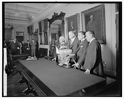 Vintography 8 x 10 Reprinted Old Photo Hoover Receiving Trophy King Spain 1923 National Photo Co 40a by Vintography